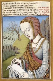 Medieval woman writing