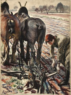 INF3-108_Food_Production_Horse-drawn_plough,_land_girl_Artist_Laura_Knight